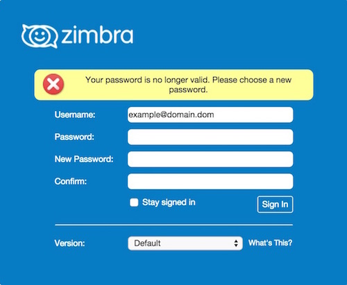 Zimbra Expired Password